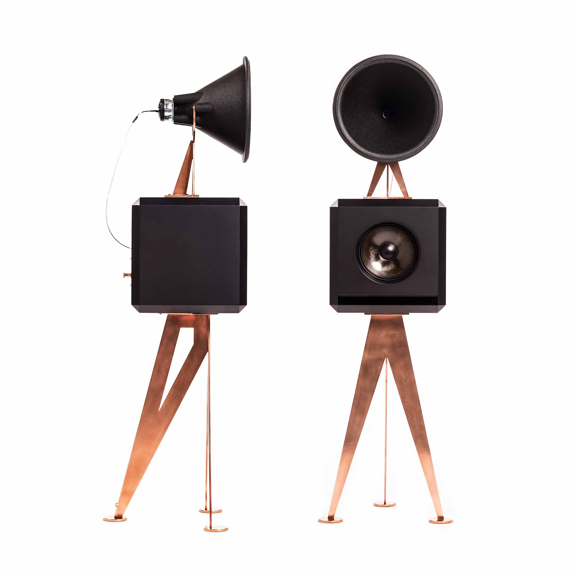 OMA Mini Loudspeaker in black brushed copper