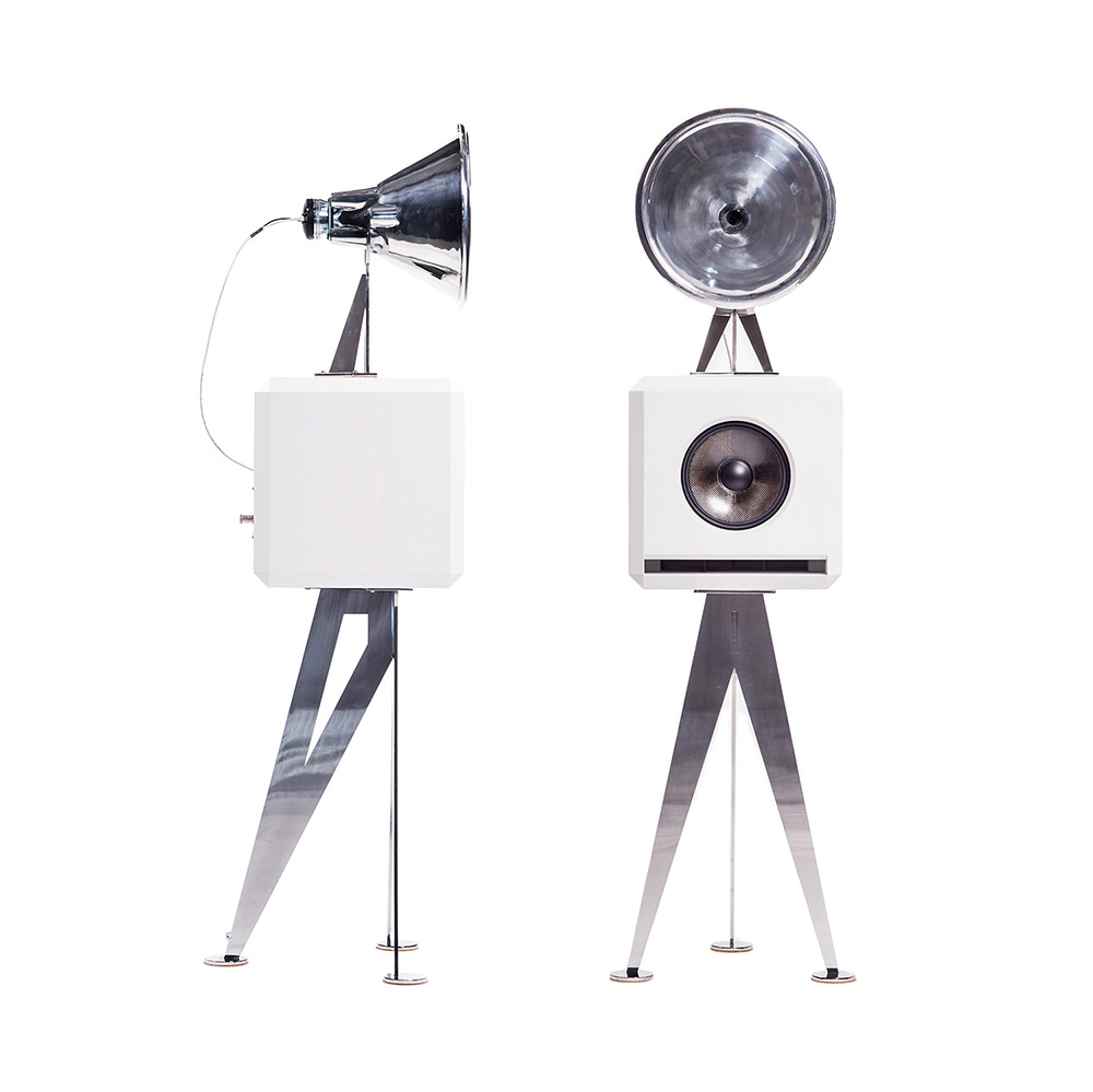 OMA Mini Loudspeaker in white stainless